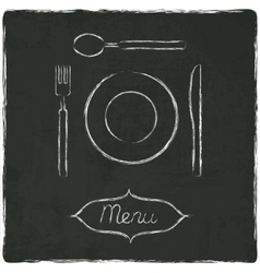Menu on old black board vector