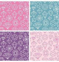seamless patterns with linear diamond icons vector image