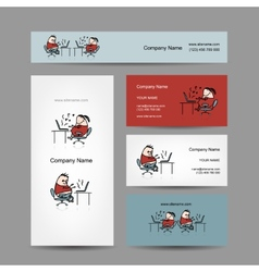 Peoples working at office business cards for your vector