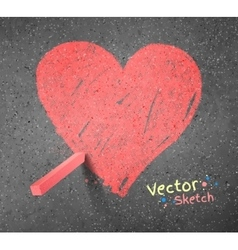 Chalked drawing of heart vector