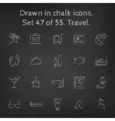 Travel icon set drawn in chalk vector