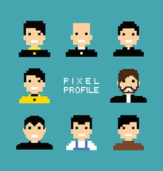 Pixel people avatar set vector