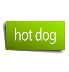 Hot dog green paper sign isolated on white vector
