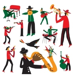 Jazz musicians - cartoons set vector