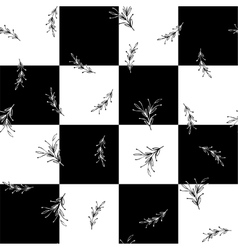 Black and white floral square minimal simple vector