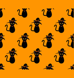 black cat witch seamless on orange background vector image vector image
