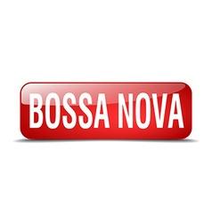 Bossa nova red square 3d realistic isolated web vector