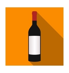 Bottle of red wine icon in flat style isolated on vector