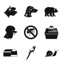 Canis icons set simple style vector