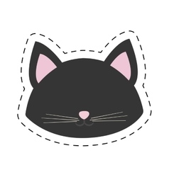 Cat portrait pink ears line dotted vector