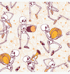 Dancing and musical skeletons haloween vector