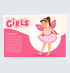 dancing little girl with butterfly wings on back vector image