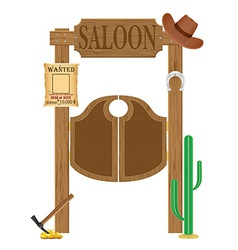 Doors in western saloon 02 vector