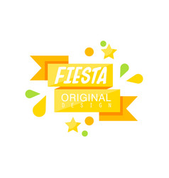 Fiesta original logo label with ribbon for a vector
