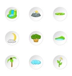 Flora icons set cartoon style vector
