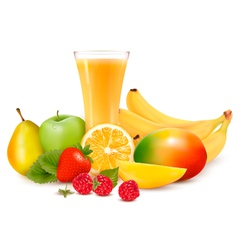 Fresh color fruit and juice vector image vector image