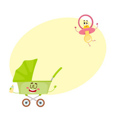 funny baby cart buggy and dummy pacifier vector image vector image