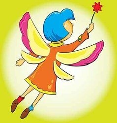 girl flutters its wings flying in the air vector image vector image