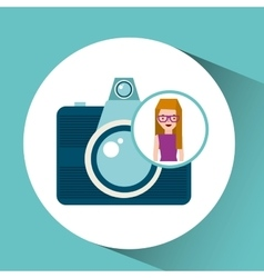 Girl glasses camera tourist traveler vector