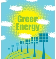 green energy concept with solar panels vector image vector image