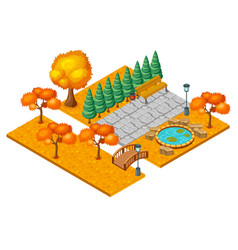 Isometric autumn city park landscape concept vector