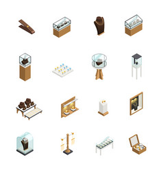 jewelry shop isometric elements vector image vector image