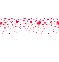 lovely red falling hearts in focus and in defocus vector image