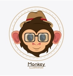 Monkey face glasses hat cartoon animal design vector image
