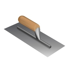 Photorealistic plastering trowel with wooden vector image