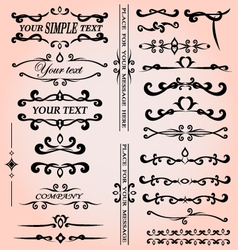 Set of calligraphic design elements for decoration vector image