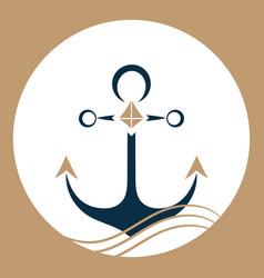 Ship anchor on the waves nautical logo vector