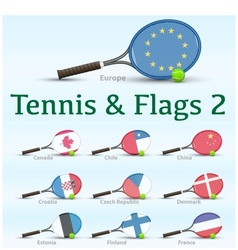 Tennis rackets flags vector image vector image
