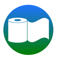 Toilet paper sign white icon in bluish vector