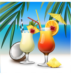 Tropical cocktails tequila sunrise and pina colada vector