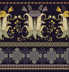 Vertical seamless pattern victorian style vector