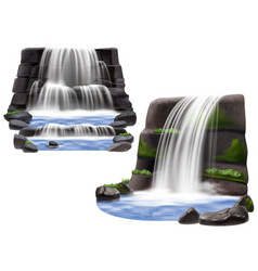 waterfalls realistic compositions vector image vector image