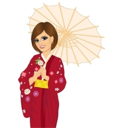 woman holding a japanese parasol vector image vector image