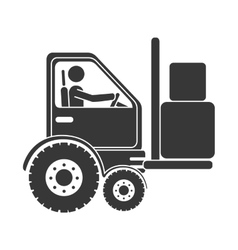 Forklift boxes machinary icon vector