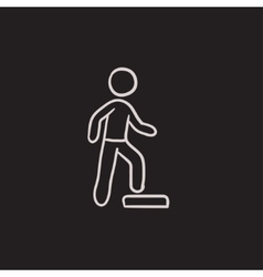 Man doing step exercise sketch icon vector