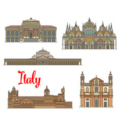 Italian travel landmarks of arts and religion vector
