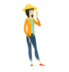 young asian farmer with pencil vector image