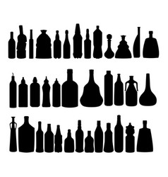 Alcohol bottles silhouettes set vector