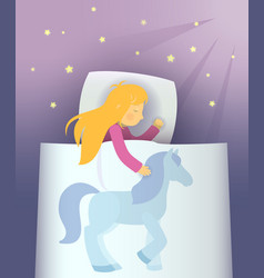 little girl dreaming about blue pony vector image