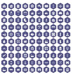 100 heating icons hexagon purple vector