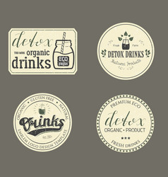 collection of retro detox drinks vector image