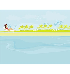 Image of girl and tropical pool vector
