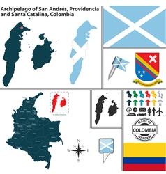 Map of archipelago of san andres and providencia vector