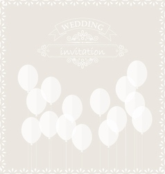 Balloons on the wedding invitation card vector