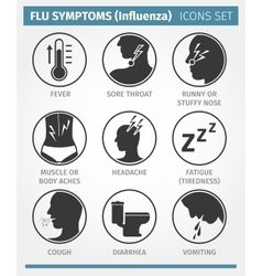 Flu symptoms influenza icon set vector