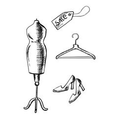 Shoes label hanger and mannequin sketch vector